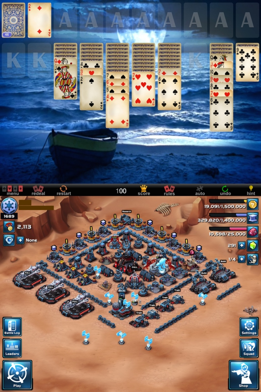 Top: Full Deck Solitaire by GRL games. Bottom: Star Wars: Commander by Di