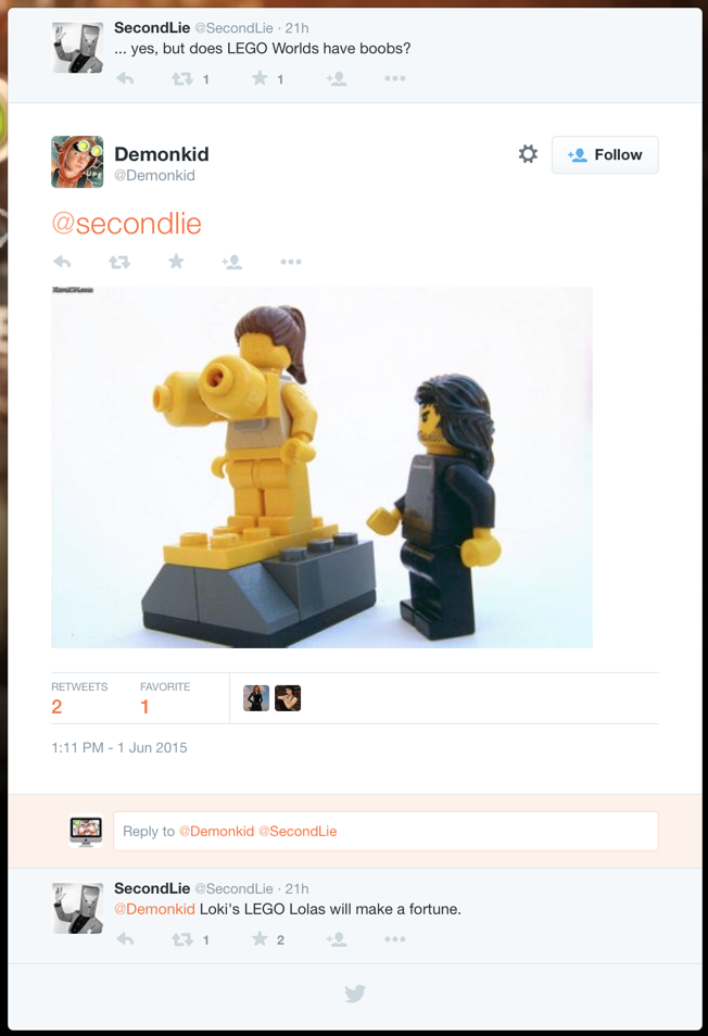 Loki's LEGO Boobs Tweet