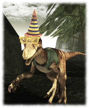 Dino-ing out to celebrate SL12B? The hat and shades may not win the approval of palentologists (or Steven Spielberg) - but they help give velociprators less of a bad rep ...