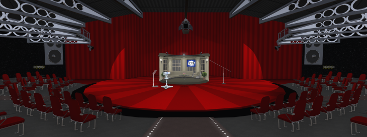 The Dreamitairum main stage with Talk Show set. Click to embiggen or see it on Flickr.